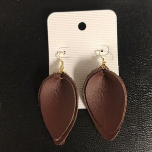 Brown Double Leather Earrings